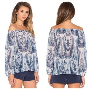 NWT Joie Off The Shoulder Silk Paisley Blouse